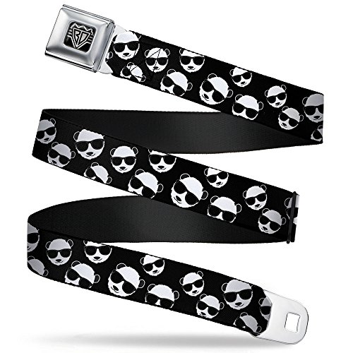 Buckle-Down Seatbelt Belt - Multi Panda w/Sunglasses Black/White - 1.0