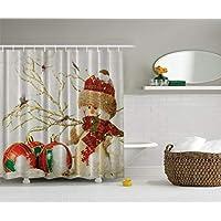 Ambesonne Winter Holiday Snowman Polyster Cortina de ducha de 69 pulgadas por 70 pulgadas, rojo /blanco /verde /dorado /caqui