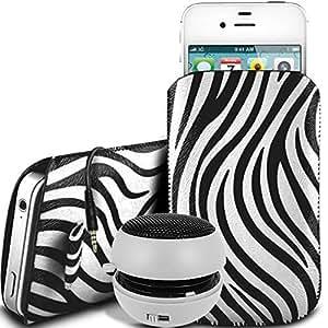 Direct-2-Your-Door - Nokia Asha 503 Dual Sim protección PU Zebra Diseño deslizamiento cordón tirador de la cremallera en la caja de la bolsa con cierre rápido y 3.5mm recargable Mini altavoces - blanco