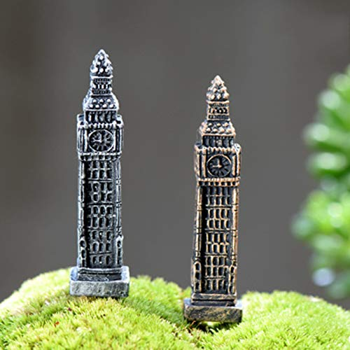 Aquaman Store Figurines & Miniatures - 2 Pieces Old Classic Alarm Wall Clock Pagoda Tower Model Little Figurine Small Doll Crafts Figure Ornament Miniatures DIY 1 PCs