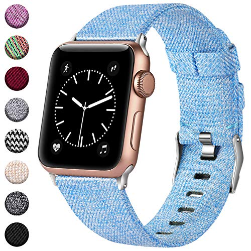 (Haveda Bands Compatible with Apple Watch Band 38mm 40mm, Woven Fabric Canvas Wrist Band for Women Men with iWatch Series 4 Series 3/2/1, Turquoise)