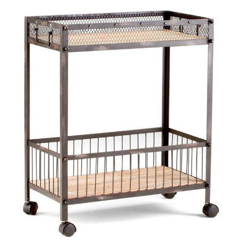Serving Bar Cart Table Rustic Iron & Reclaimed Wood Liquor Storage