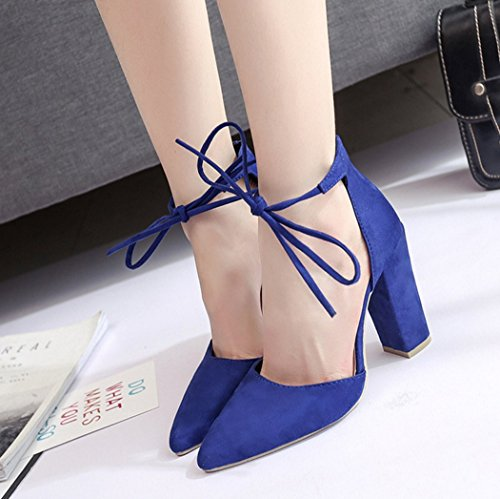 FINOC Womens High Heel Pumps Shoes, Chunky Heels & Crossover Ankle Strap Suede Heeled Sandals For Women Blue