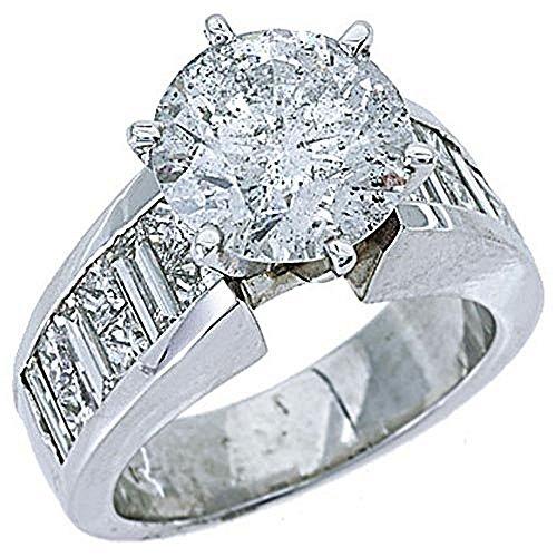 18k White Gold 6.05 Carats Round Princess & Baguette Cut Diamond Engagement Ring ()