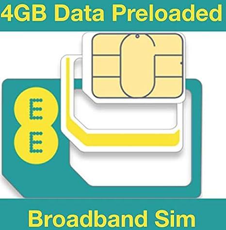 EE 4G Tarjeta SIM de Datos, precargada con Datos de 4 GB Durante ...