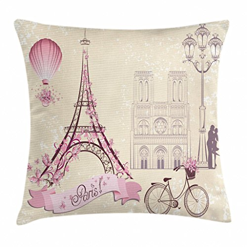 Ambesonne Kiss Throw Pillow Cushion Cover, Floral Paris Symbols Landmarks Eiffel Tower Hot Air Balloon Bicycle Romantic Couple, Decorative Square Accent Pillow Case, 16 X 16 Inches, Ivory - Balloon Air Hot Pillow
