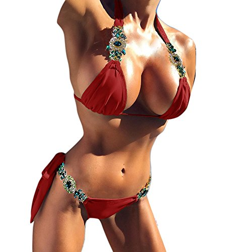 c0496c6bce AMOFINY Women's Fashion Swimwear Sexy Bikini Set Push Up Padded Crystal  Bandage Swimsuit Bathing Red