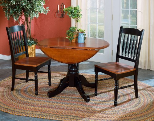 "A-America BRIOB6100 British Isles Round Double Drop-Leaf Dining Table, 42"", Oak-Black"