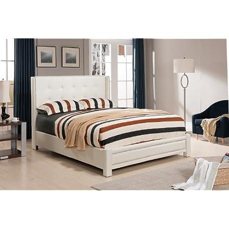 Ivory Tufted Design Leather Look Queen Size Upholstered Platform Bed