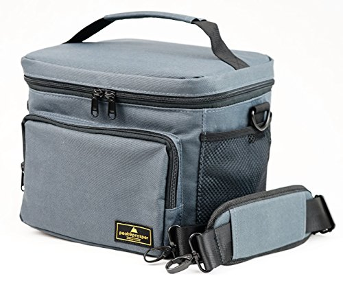 Premium Lunch Cooler Box, Medium Grey Insulated Lunch Bag. Water Resistant and Heavy Duty. Perfect For Adults, Men, Women and Teens - Peak and Prosper (Grey)