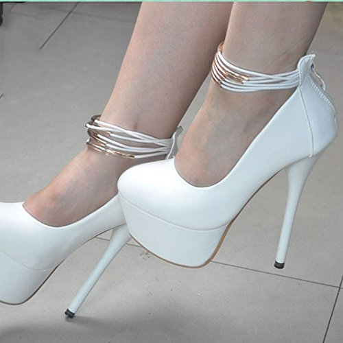 Size 8 Round Heels Cm 14 Fabric White Sandals Elegant Novelty Leather 5 VIVIOO Shoes Prom High 45 Pumps 34 Toe nPq1CZzHw