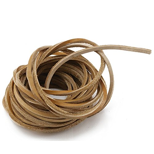 Fyess 6.5 yards 4 mm Genuine Leather Strip Braiding String Light Brown - Leather Braiding Supplies