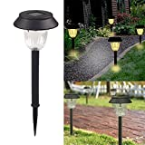 MZS Tec 2/4/6 Pack Led Solar Lights, Outdoor Pathway Garden Stake Light, 8-10 Lumens LED Lawn Walkway Lamp Path Yard Night Lights (4 Pack, Warm White)