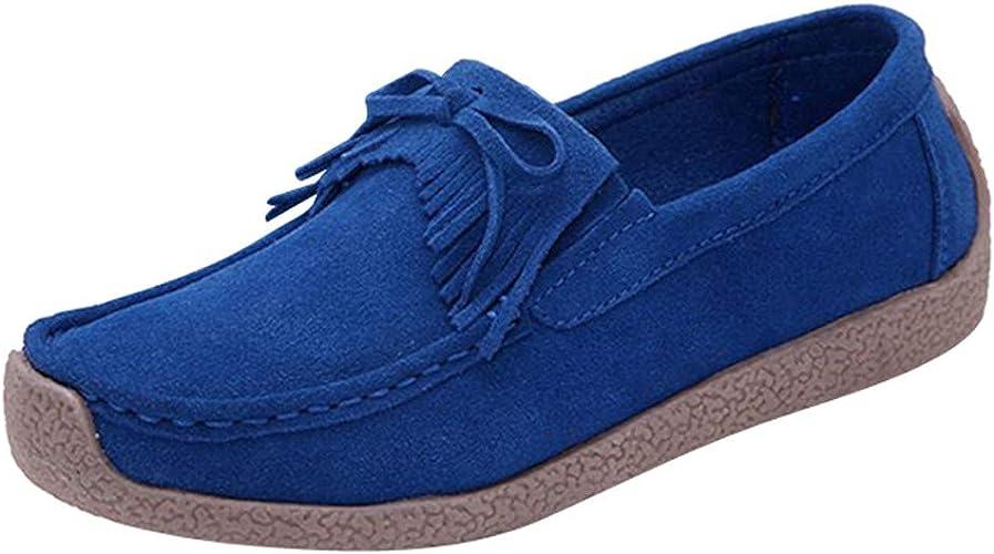 DOLDOA Frauen Damen Mokassin Bootsschuhe Leder Loafers Fahren Flache Schuhe Halbschuhe Slippers Erbsenschuhe