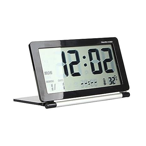 Sharplace Digital Despertador Multifunción Hora Mundial Reloj de Viaje Alarm Clock - Negro