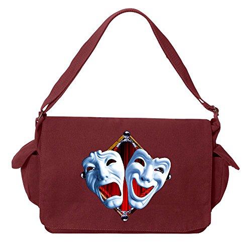 Tenacitee Drama Masks Maroon Brushed Canvas Messenger Bag (Mask Maroon)
