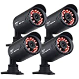 Night Owl Security CAM-4PK-650 650 TVL Security Bullet Camera with 50' of Night Vision, 4-Pack (Black)