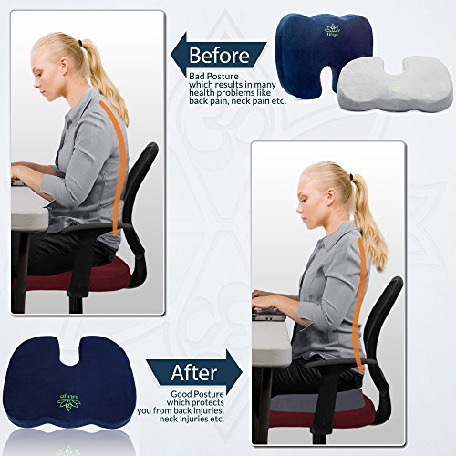 Seat Cushion For Back Pain >> Liliyo Office Chair Seat Cushion For Sciatica Relief Coccyx Lower Back Pain Relief Backrest Pillow For Wheelechair Home Car Density Foam For Lifetime