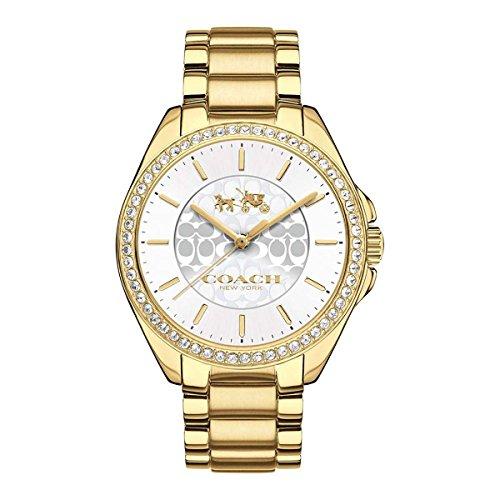 Coach Womens 14502470 Tristen Gold Tone Signature Stainless Glitz Watch