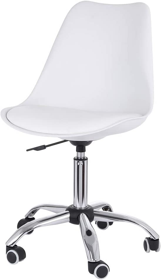 Freesa Chair PU Leather Office Chair Furniture Study Stool with Backrest Medium Height Lifting Adjust Height Rotatable Without Armrests White Fashion Simple Comfortable