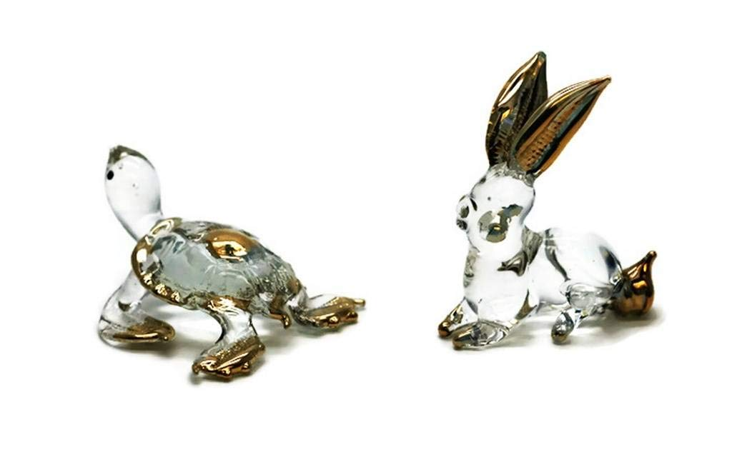 3 D Crystal Toy Gloden Rabbit and Tortoise Hand Bowl Glass Dollhouse Miniatures Decoration CoolPrice Glass