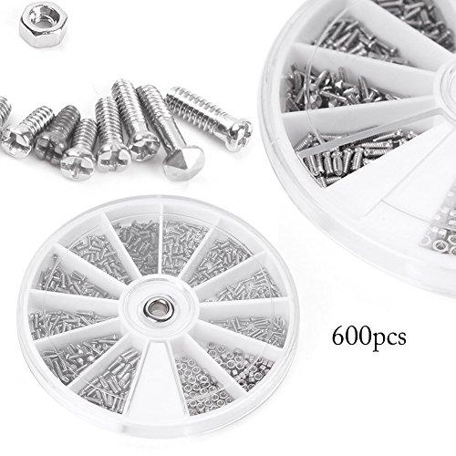 Beautylady 600pcs 12 Kinds Small Screw Nuts Assortment Kit M1/M1.2/M1.4/M1.6 from Beautylady