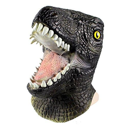 Halloween Mask T Rex Toy 3D Dinosaur Natural Latex Headgear (Green)