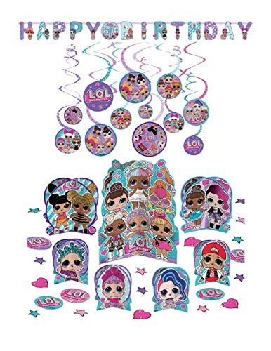Party Decoration Supply Pack for LOL Surprise Themed Party with Jumbo Add-an-Age Banner, Table Centerpiece Kit & Value Pack Hanging Swirls by Amscan -