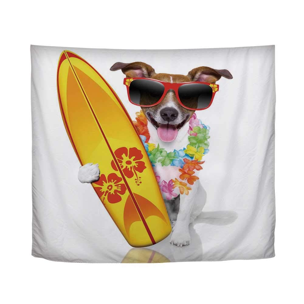 YOLIYANA Ride The Wave,Surfer Puppy with Sunglasses and Tropical Hibiscus Flowers Hawaiian Dog Print,61'' L x 90'' W by YOLIYANA