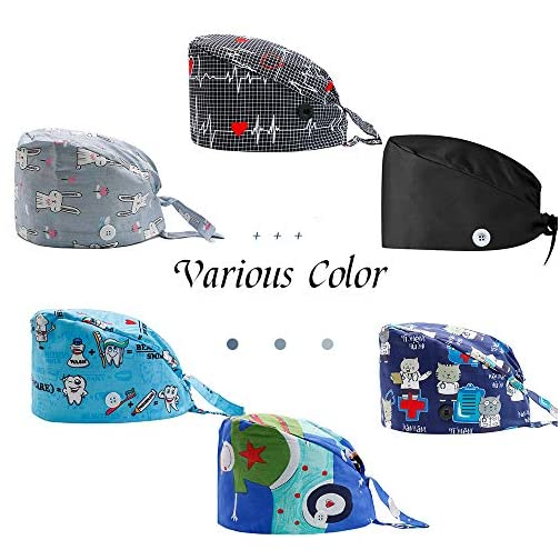 2PCS Fun Printed Working Hat with Buttons, Upgrade Breathable Lace Up Cotton Sweatband Cap Tie Back Hair Cover for Women… |