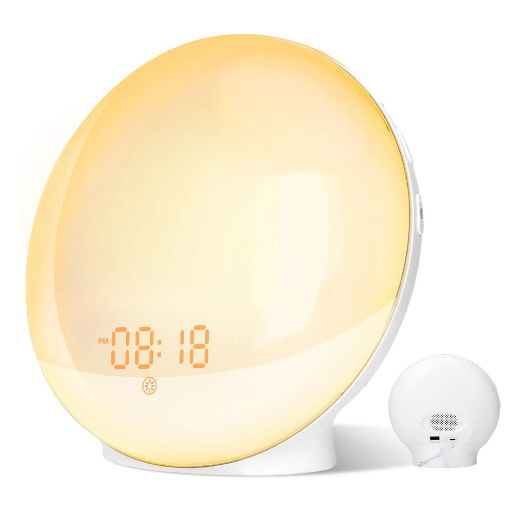 Wake Up Light, GRDE Alarm Clock Colored Sunrise Simulation & Sleep Aid Feature, Dual Alarm Clock settable with FM Radio, 7 Natural Sound and Snooze Functions for Kids Teens Adults