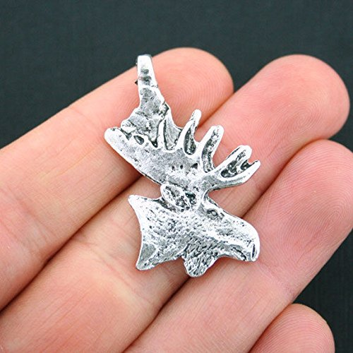 Extensive Collection of Charm 2 Large Moose Charms Antique Silver Tone Moose Head - SC4838 Express Yourself