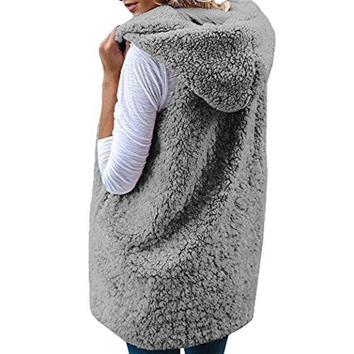 Abrigo Camiseta sin Capucha Chaleco Gris con Chaquetas Niñas Lenfesh Suéter de Caliente Mangas Casual Inviern Cálido Mujers wTIPgg6qv