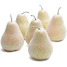 Group of Irididescent Glitter Artificial Pears for Indoor Decor - 6 Pears