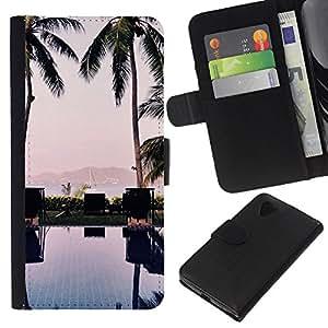 KLONGSHOP // Tirón de la caja Cartera de cuero con ranuras para tarjetas - Árboles piscina Beach Yacht Ver - LG Nexus 5 D820 D821 //