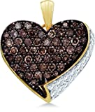 10k Yellow and White Two Tone Gold Round Cut Brown Chocolate and White Diamond Heart Shape Love Pendant (.85 cttw)