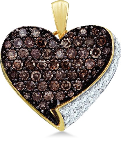 10k Yellow and White Two Tone Gold Round Cut Brown Chocolate and White Diamond Heart Shape Love Pendant (.85 - Tone Jewel Necklace