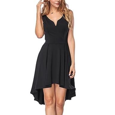 902301673eea KUREAS Women s Sleeveless Dress V Neck High Low Elegant Cocktail Party Skater  Dresses