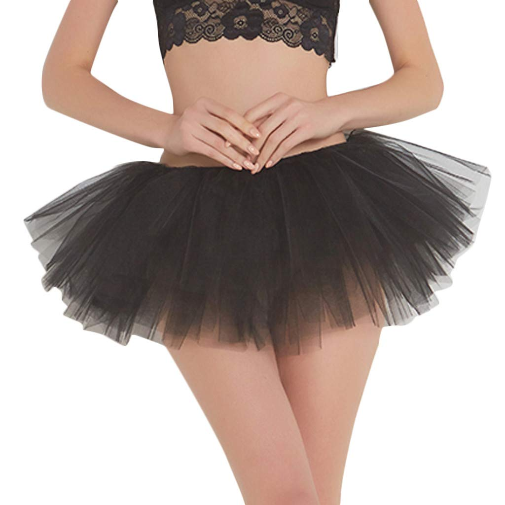 b397d106d Amazon.com: Womens Tutu Skirts Pleated Gauze Short Skirt Adult Tutu Dancing Tulle  Skirts (Free, Black): Clothing