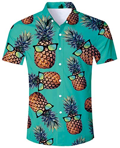 (ALISISTER Pineapple Hawaiian Shirt Mens Tropical Button Down Shirts Aloha Slimming Fit Blouses Short Sleeve Party Beach Clothing L)