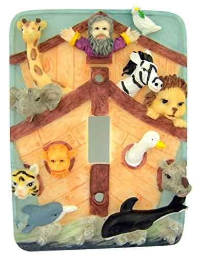 Painted Resin Noah's Ark Switchplate for Nursery or Kids Room, 4 3/4 Inch