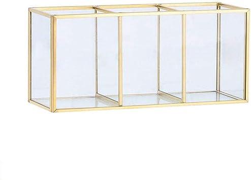 Zunbo - Joyero retro de latón de oro, metal de color cristal transparente, caja de almacenamiento vintage, estilo nórdico, organizador cosmético, expositor para joyas, decoración, color dorado: Amazon.es: Hogar