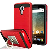 ZTE N817/Uhura/Ultra/Quest Case With Phone Stand,Ymhxcy [Metal Brushed Texture] Hybrid Dual Layer Full-Body Shockproof Protective Cover Shell For ZTE N817-LS Red