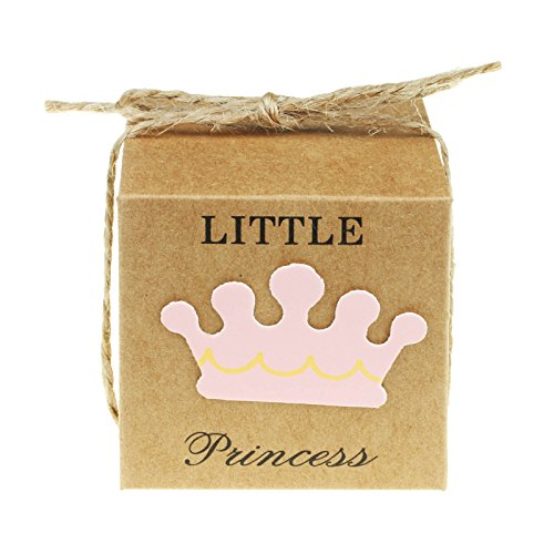 vLoveLife 50pcs Baby Pink LITTLE PRINCESS Paper Favor Boxes Gift Box + 50pcs Free Natural Jute Twine Cute Kraft Paper Gift Candy Box Baby Shower Birthday Party Favors - 2