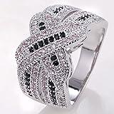 925 Silver Natural Black&White Topaz Infinity Ring Jewelry Wedding Engagement#by pimchanok shop (8)