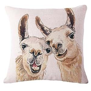 "Funny dogs Throw Pillow Case Cushion Cover Decorative Cotton Blend Linen Pillowcase for Sofa 18 ""X 18 """