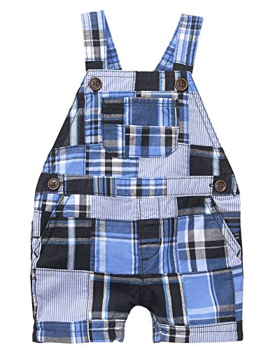 Gymboree Baby Boys Patchwork Overalls, True Blue Plaid, 0-3 ()