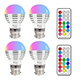 NetBoat Colour Light Bulbs,B22 3W RGBW LED Bayonet Colour Changing Light Bulbs,Dimmable Mood Lighting,Party Club Disco KTV Magic Ball Stage Effect Lights,Pack of 4