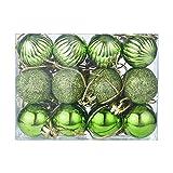 Christmas Balls Ornaments, 24Pcs 30mm Shatterproof Classic Shiny Glitter Matte Baubles Hanging Christmas Baubles Set Holiday Wedding Party Christmastree (Green)