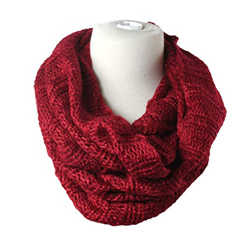 Premium Women's Winter Warm Scarf Infinity 2Circle Cable Knit Cowl Neck Long Scarf Shawl-Warm - Cables Elixir